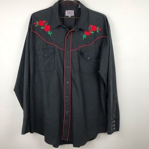 Ely Diamond Embroidered Rose Western Pearl Snap XL